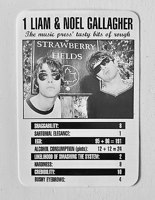Oasis - Original - Liam & Noel Top Trumps Card - Melody Maker - 1995 - Brit Pop • 0.99£