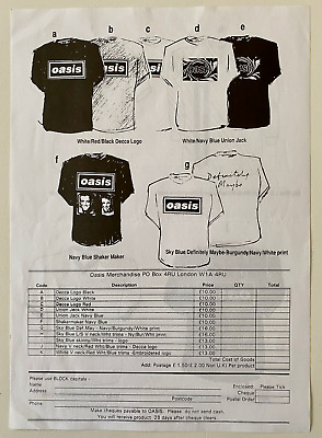 Oasis - Original -  A4 T-shirt Flyer - 12 Designs - 1995 - Brit Pop • 0.99£