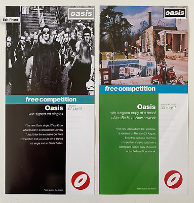 Oasis - Original -  2 X Competition Flyers - 1997 - Brit Pop • 0.99£