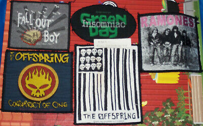 Green Day, Fall Out Boy, Offspring, Ramones, Punk Rock, 5 Patches, Joblot, Used • 3£