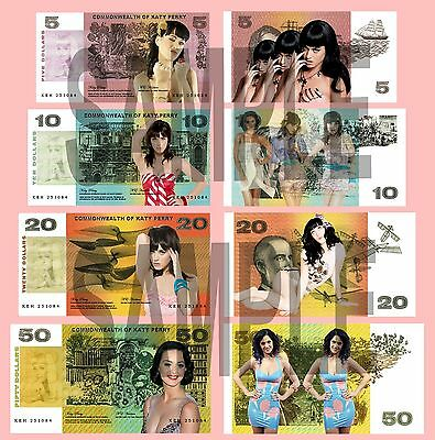 Set Of 4 Katy Perry Double Sided Fun Australian Style Notes • 1.29£