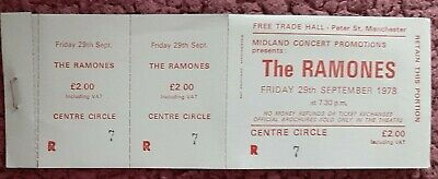 The Ramones Ticket From The Free Trades Hall Manchester. September 1978 • 7£