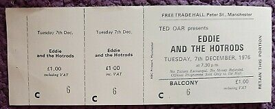 Eddie And The Hotrods Ticket From The Free Trades Hall Manchester. Dec 1976 • 7£