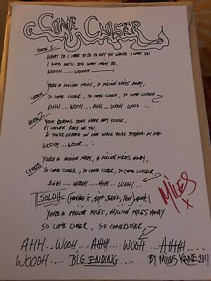 Miles Kane Hand Signed Lyrics For Come Closer - Last Shadow Puppets - Rare Piece • 8£