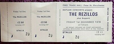 The Rezillos Ticket From The Free Trades Hall Manchester. December 1978 • 7£