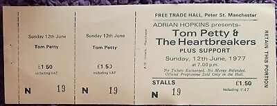 Tom Petty& Heartbreakers Ticket From The Free Trades Hall Manchester. June 1977 • 7£