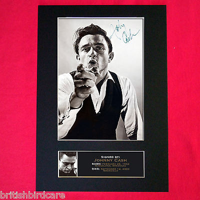 JOHNNY CASH Signed Reproduction Autograph Mounted Photo Print A4 85 • 17.99£
