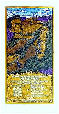Woodyfest Poster Woody Guthrie 100th Bday Country Joe Signed Silkscreen • 75.04£