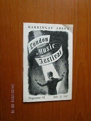 1947 Harringay Arena London Music Festival Programme  • 7£