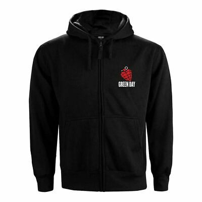 Mens Green Day American Idiot Black Zip Up Hoodie - Loose Fit Music Sweater • 34.95£