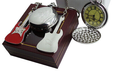 Signed JIMMY PAGE Pocket Watch With Chain And Guitar Keyring Led Zeppelin Case • 26.99£