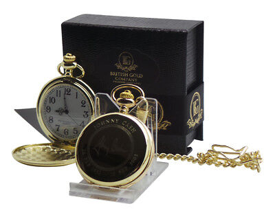 JOHNNY CASH Signed Autographed 24K GOLD Clad Pocket Watch And Chain Gift Case • 27.99£