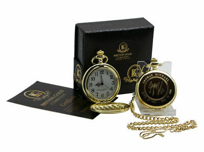 SIGNED GEORGE MICHAEL 24k Gold Clad Pocket Watch Luxury Gift Case Autographed • 24.99£