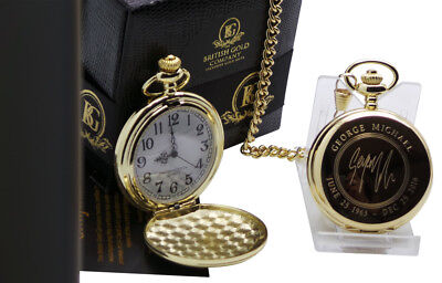 SIGNED GEORGE MICHAEL 24k Gold Clad Pocket Watch Autographed Luxury Gift Case • 24.99£