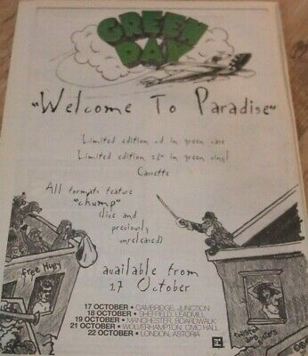 ☆ GREEN DAY WELCOME TO PARADE '94 LARGE 36cm X 26cm PRESS PAPER POSTER ORIGINAL  • 15£