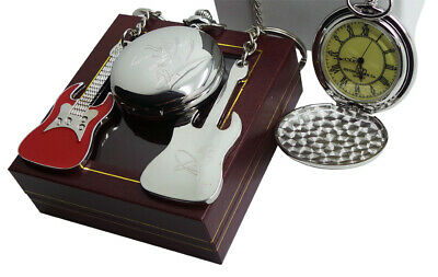 Signed Led Zeppelin Pocket Watch And Guitar Keyring Jimmy Page Luxury Gift Set • 29.99£