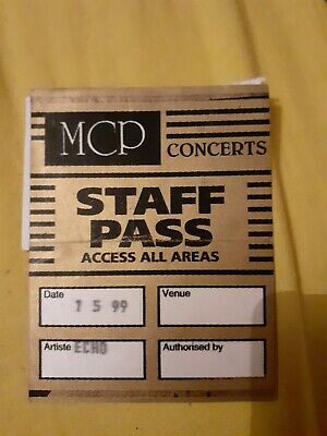 Echo And The Bunnymen. Back Stage Pass. Manchester Apollo 1999 • 3.99£
