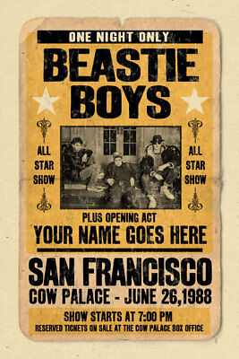 Your Name On An BEASTIE BOYS Concert Poster! Personalized Gift - Vintage Look • 14.69£