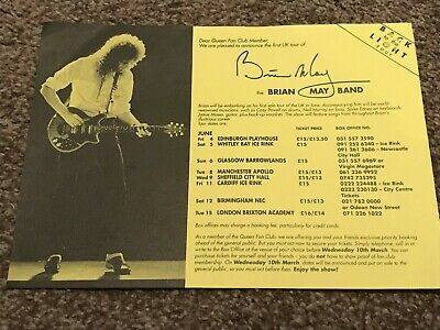 QUEEN, BRIAN MAY, 1993 Fan Club Tour Flyer (RARE) Freddie Mercury, Roger Taylor. • 0.99£