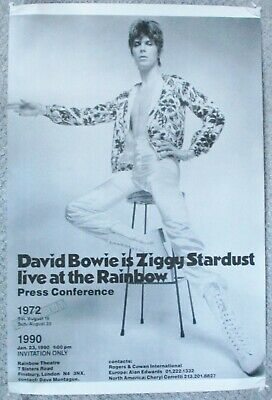DAVID BOWIE. ZIGGY STARDUST. LIVE AT THE RAINBOW. ORIGINAL POSTER.1990. 23 X 35  • 50£