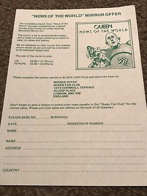 QUEEN, 1977 Fan Club Mirror Merchandise Sheet (RARE) Freddie Mercury Taylor May. • 0.99£