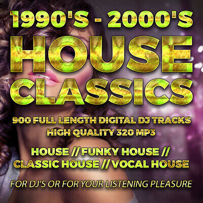House Music DJ Collection 1990's-2000's - 900 Full Length Tracks 320 MP3 - USB • 19.99£