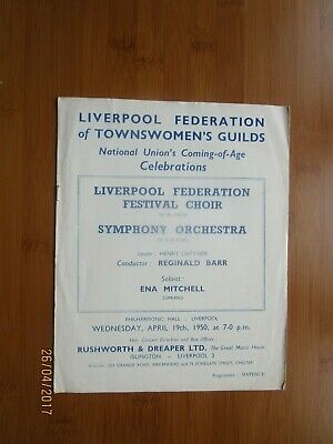 1950 Liverpool Federation Of Townswomens Guild National Union Classical Concert • 10£