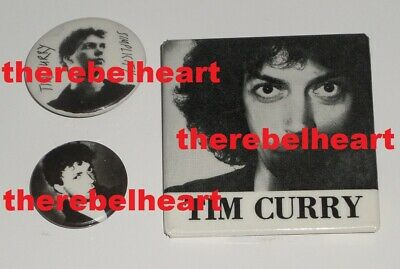 TIM CURRY 1979 US Promo Pin Set A&M RECORDS - Badges BUTTONS - Rocky Horror RARE • 49.99£