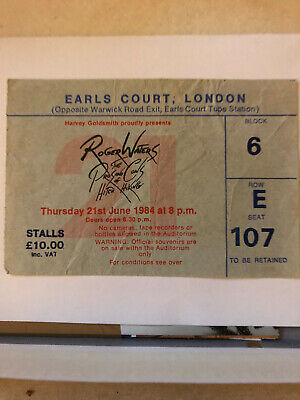 ROGER WATERS - Ticket Stub Earls Ct 1984 - Rare - Gd  • 25£