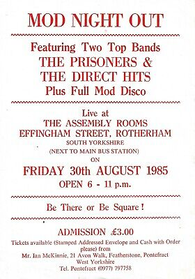 Mod Night Out Flyer 30th August 1985 - The Prisoners, Direct Hits - RARE Mod  • 9.99£