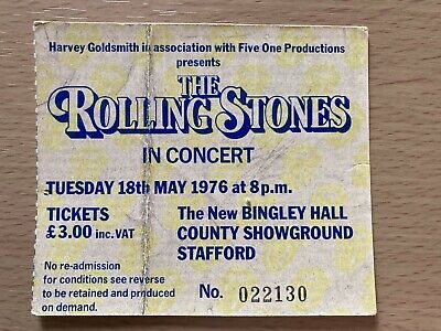 Rolling Stones Original Concert Ticket Stub From 1976 Tour At Bingley Hall • 1.99£