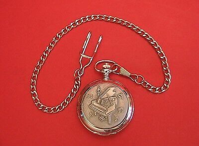 Grand Piano Design Pocket Watch Pewter Front Albert Chain Fathers Day Music Gift • 24.99£