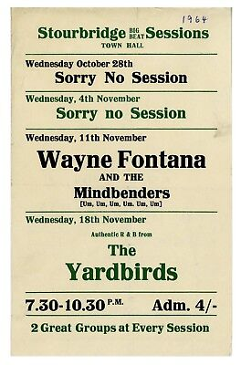 The Yardbirds Eric Clapton 1964 Stourbridge Handbill (UK)  • 250£