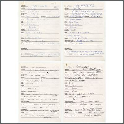 The Pretenders 1984 Handwritten Biography Sheets (Germany) • 515£