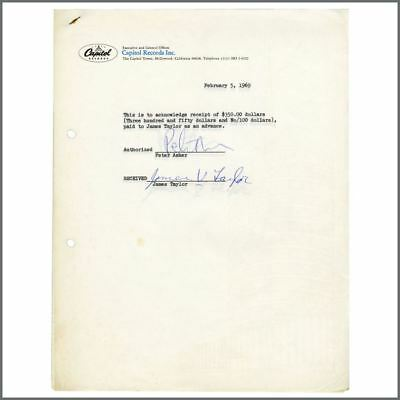 James Taylor 1969 Capitol Records Signed Receipt (USA) • 165£
