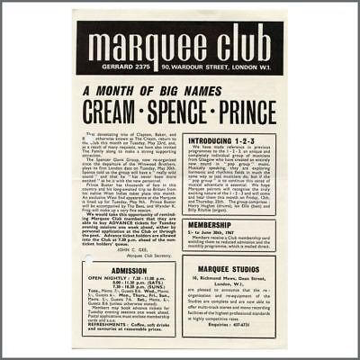 Eric Clapton Cream 1967 Marquee Club Promotional Handbill (UK) • 220£