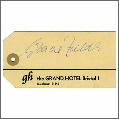 Gracie Fields Autographed Hotel Tag (UK) • 22.50£
