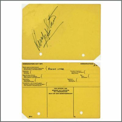 Ringo Starr 1970s Autographed Immigration Card (Europe) • 440£