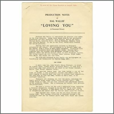 Elvis Presley 1957 Loving You Production Notes (UK) • 385£