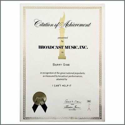 Barry Gibb 1980 I Can't Help It Andy Gibb BMI Citation Of Achievement (USA) • 220£