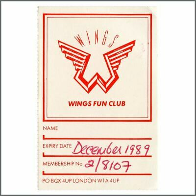 Paul McCartney 1989 Wings Fun Club Membership Card (UK) • 27.50£