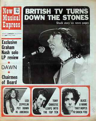 Nme 5 June 1971 . The Rolling Stones Mick Jagger Front Cover . Led Zeppelin • 16.99£