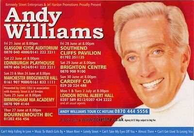 Andy Williams 2002 Tour Flyer • 11.77£