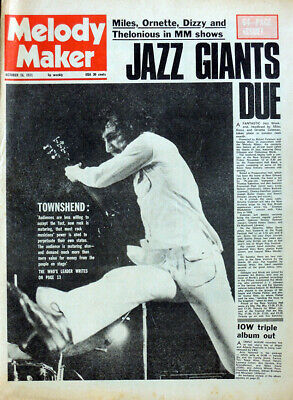 Melody Maker 16 Oct 1971 . The Who Pete Townshend Front Cover .  T Rex . Not Nme • 14.99£