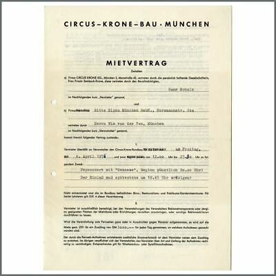 Genesis 1975 Circus Krone Munich Performance Contract (Germany) • 220£