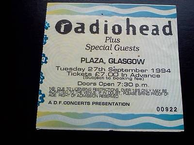 Radiohead Ticket  Plaza Glasgow 27/09/94 • 25£