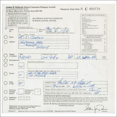 Eric Clapton 1975 Ferrari Insurance Document (UK) • 82.50£