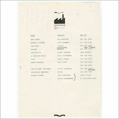 Factory Records New Order/A Certain Ratio/Happy Mondays Contact List (UK) • 220£