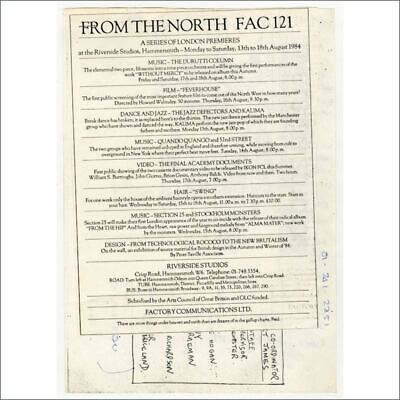From The North 1984 FAC 121 Factory Records Riverside Studios Poster/Flyer (UK) • 220£