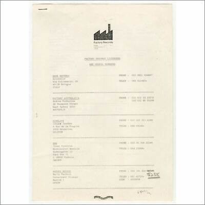 Factory Records Licensees & Useful Numbers Contact List (UK) • 165£